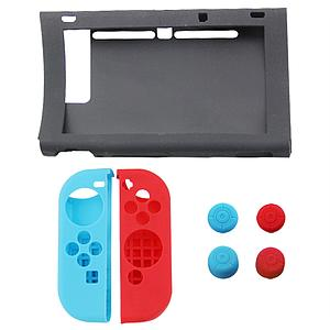 FUNDA SILICON NINTENDO SWITCH 7 PIEZAS NEGRA