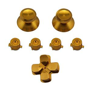 BOTONES KIT PS4 7 PCS ALUMINIO DORADO