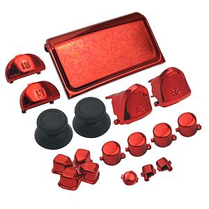 BOTONES KIT PS4 SLIM 15 PCS ROJO METALICO